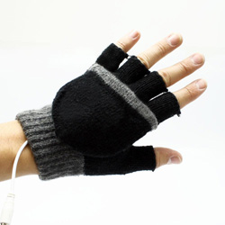 Gants usb chauffant noirs
